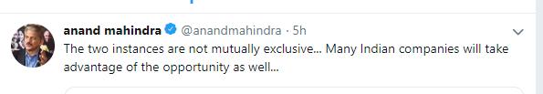 Mahindra tweet 1