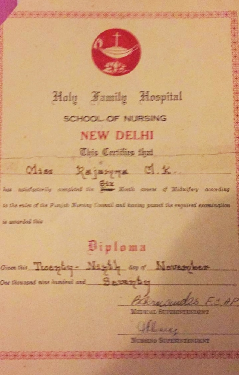 Certificate Holy Family.