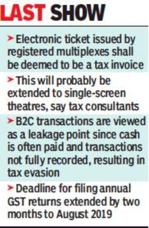 GST check: Multiplexes told to sell only electronic tickets - Times