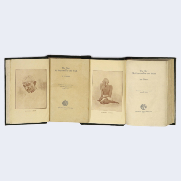 Lot 14 - THE STORY OF MY EXPERIMENTS WITH TRUTH - VOL 1 & 2 (inner pages) M K GANDHI ESTIMATE - INR 2