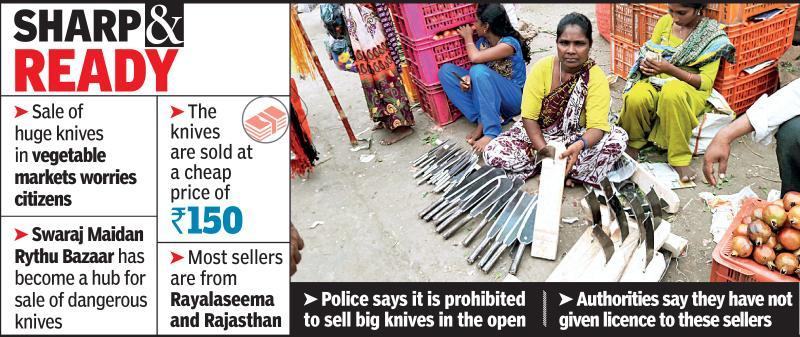 Carving knives on display, bazaar now a weapon store