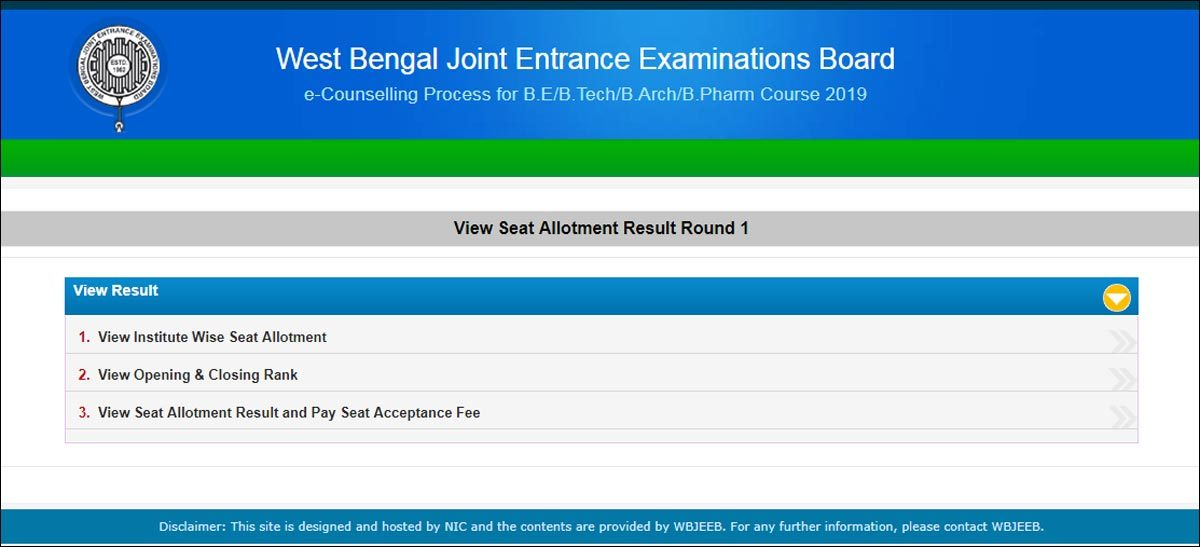 WBJEE 1st round seat allotment result 2019 released