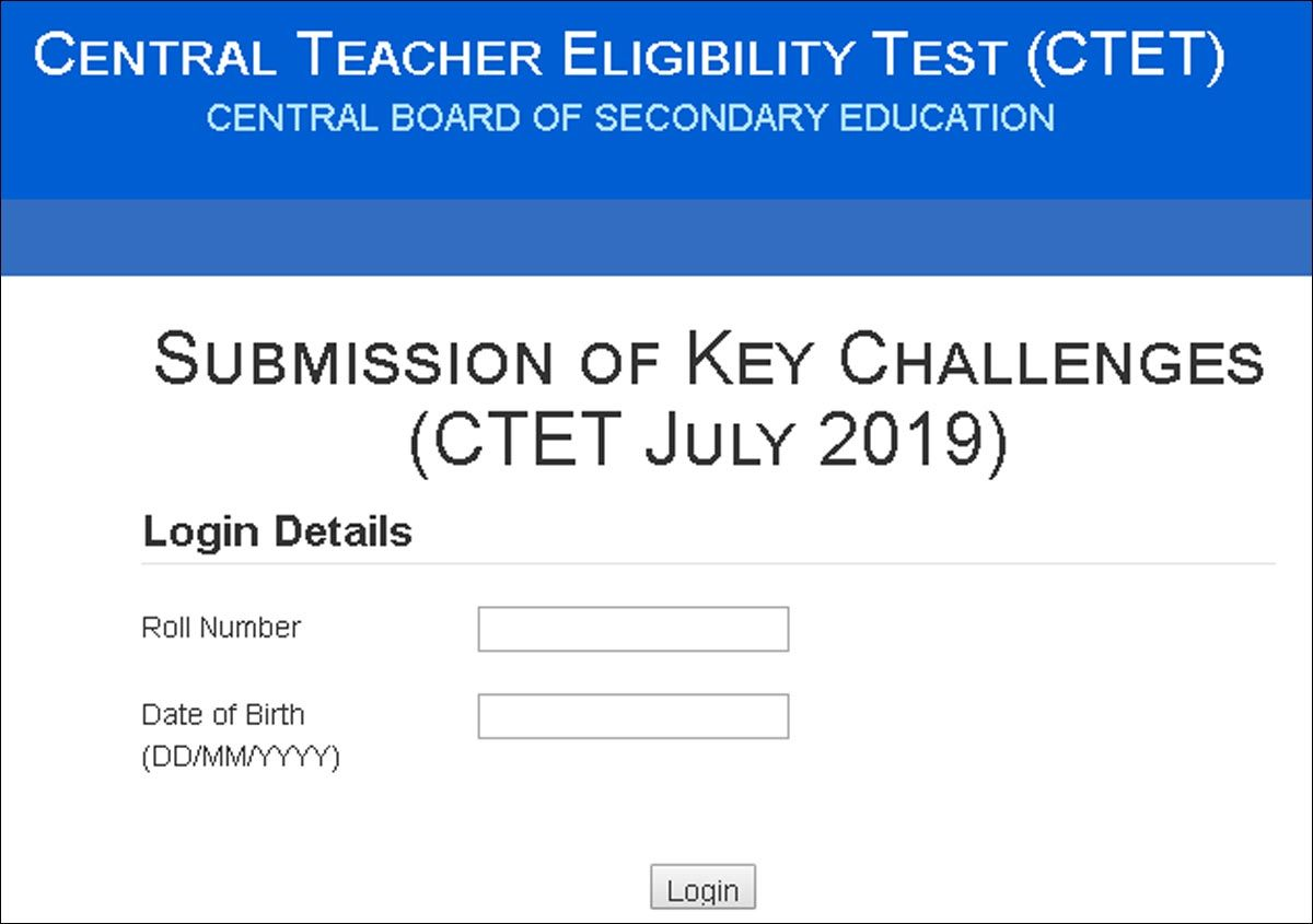 CTET answer key 2019 released @ctet nic in
