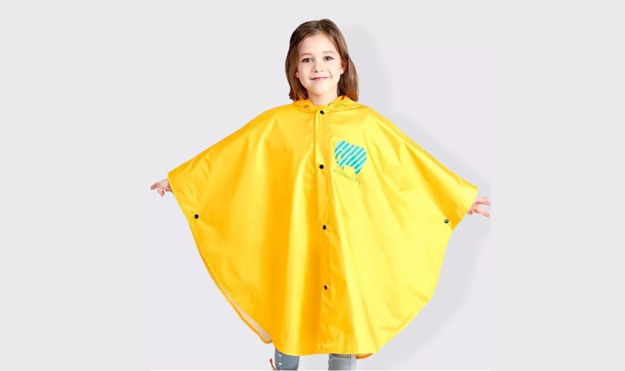 Bright yellow poncho for toddlers and babies
