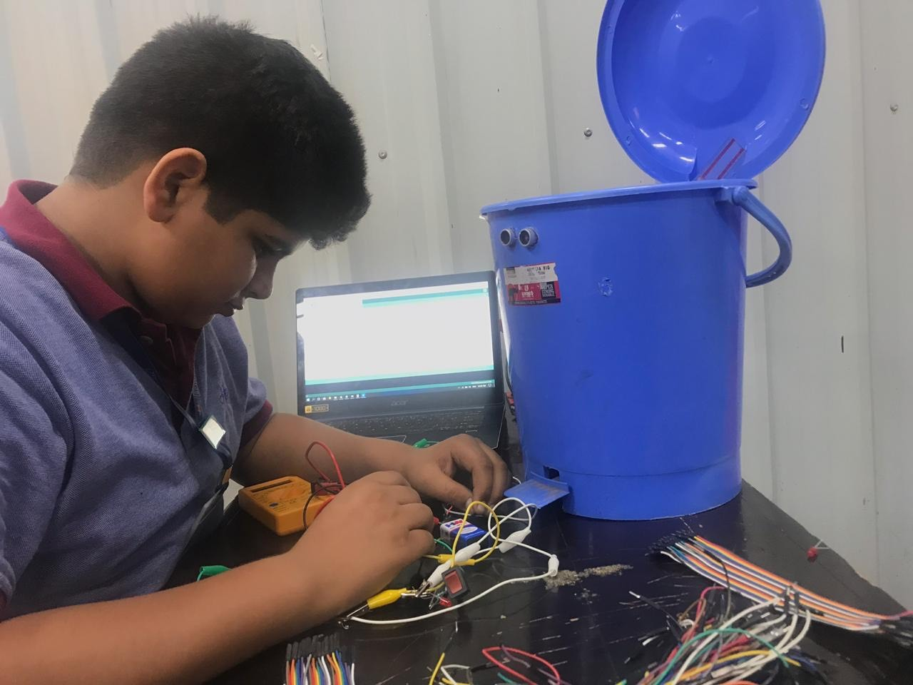 Krish, a student from MRIS Ludhiana has developed a Smart Bin for the physically challenged