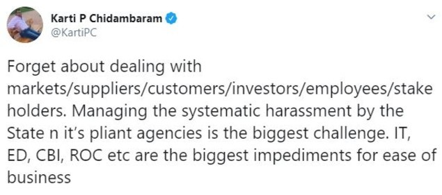 Karti P Chidambaram tweet (1)