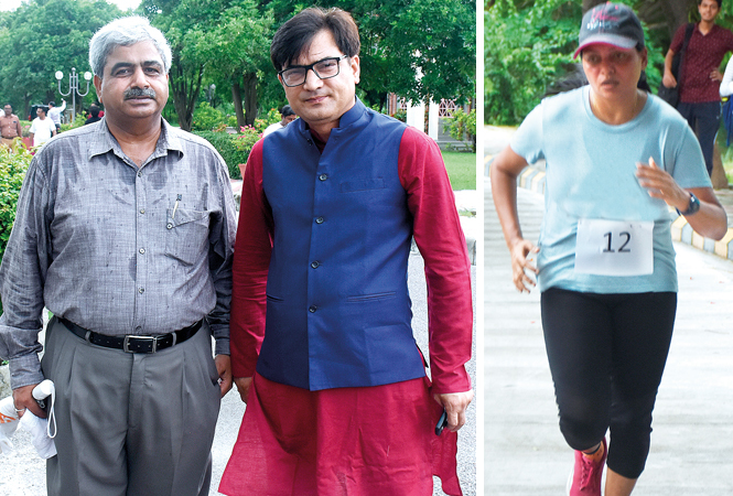 (L) Brig Dinesh Sharma and Prof Sanjay Singh (R) Vatsala Singh (BCCL/ Vishnu Jaiswal)