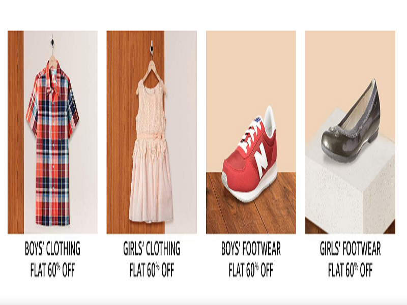 Flat 60% off on Kid's apparel and footwear