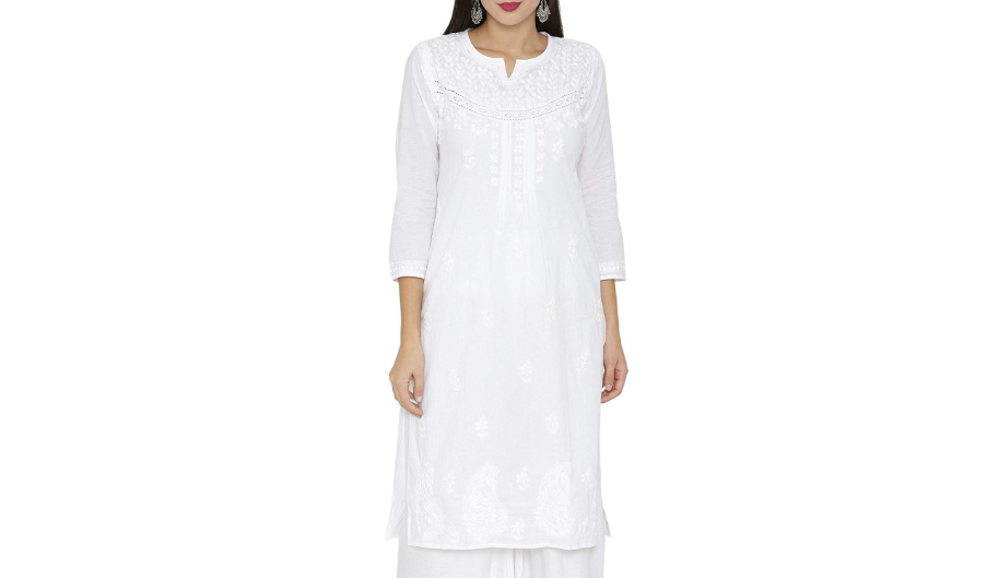 White kurti with embroidery and lace
