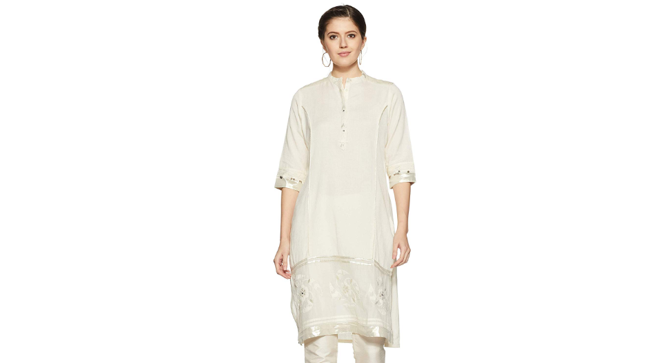 Straight kurti with gota embellishments