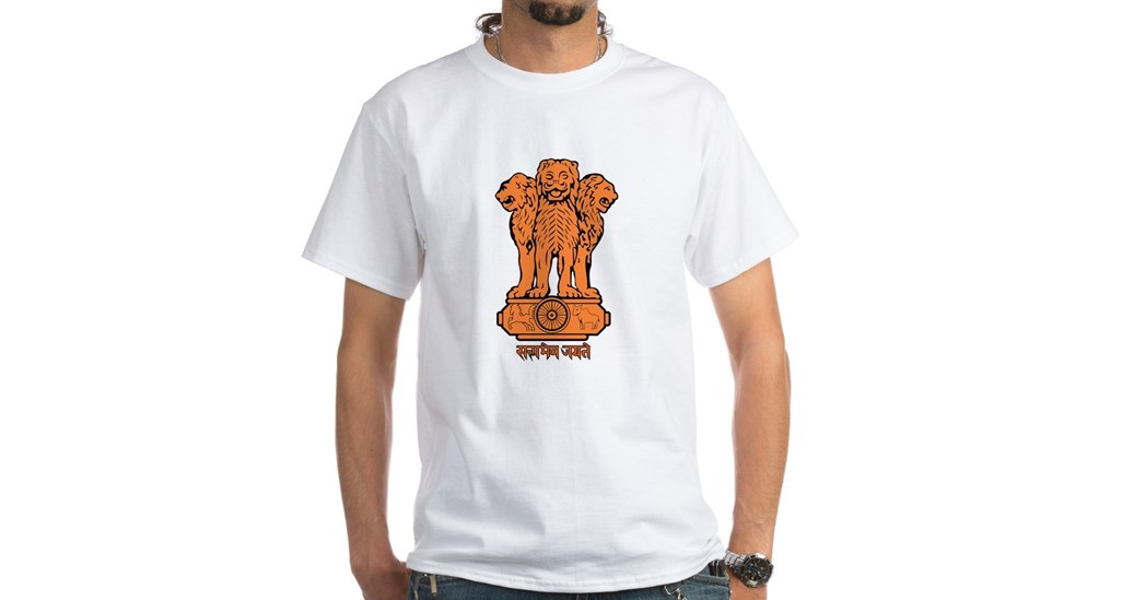 India Coat of Arms White Men's T-Shirt
