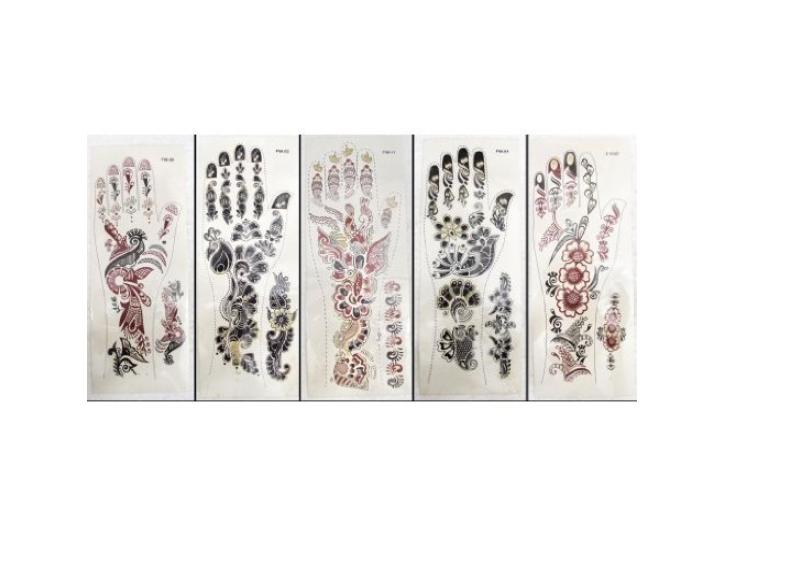 bonballoon 6 Sheets Self Adhesive Transfer Glitter Henna Temporary Body Art Tattoo Mehndi