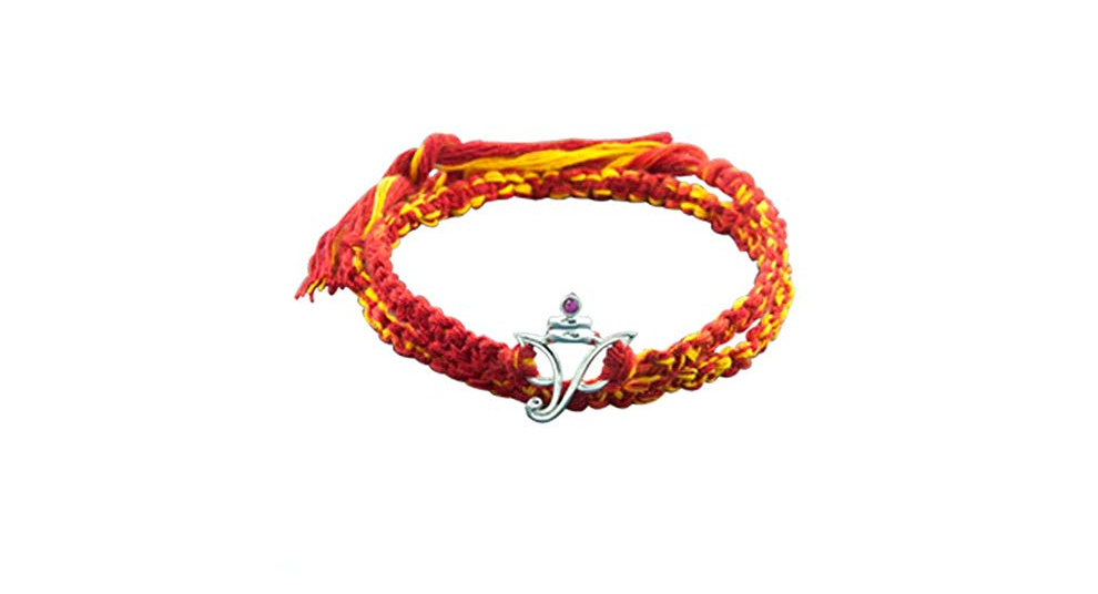 Red & Yellow Rakhi Bracelet with 925 Sterling Silver Ganesha Pendant