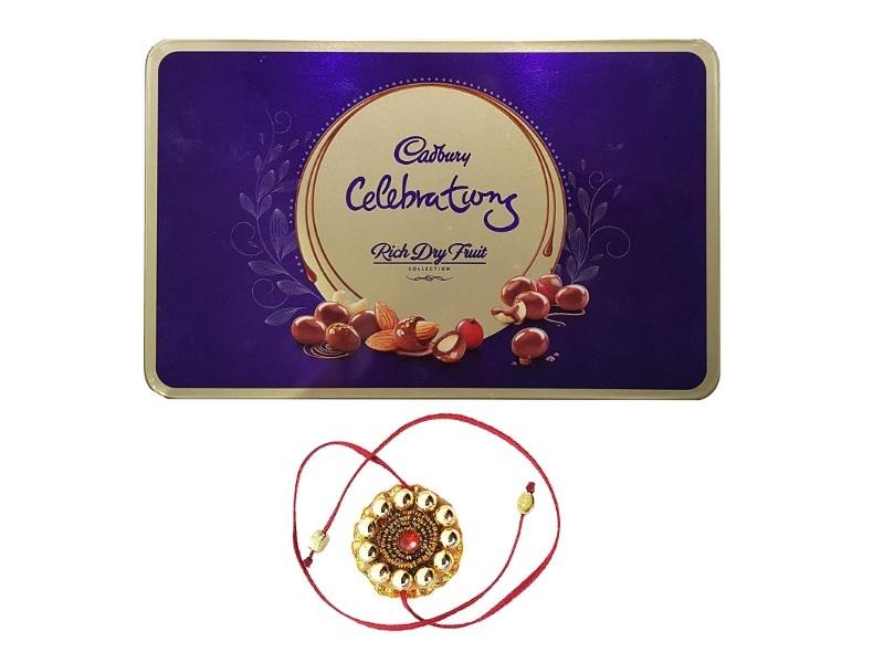 Rakhi with Cadbury Celebrations Rich Dry Fruit Chocolate Gift Box