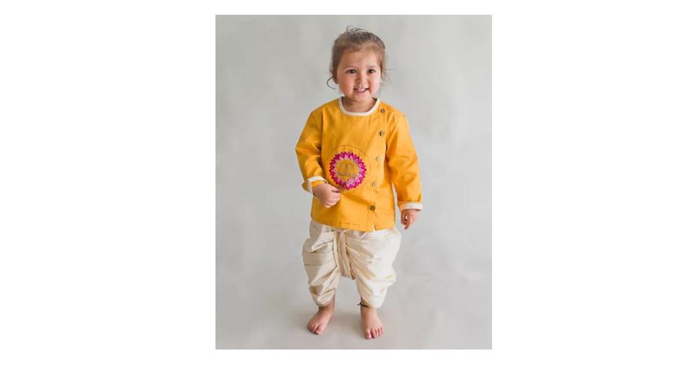 Krishna Lotus Feet Embroidered Full Sleeves Kurta & Dhoti Set
