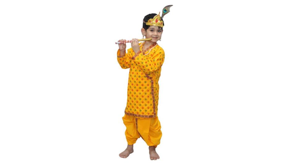 Krishna Costume Printed in Cotton Fabric