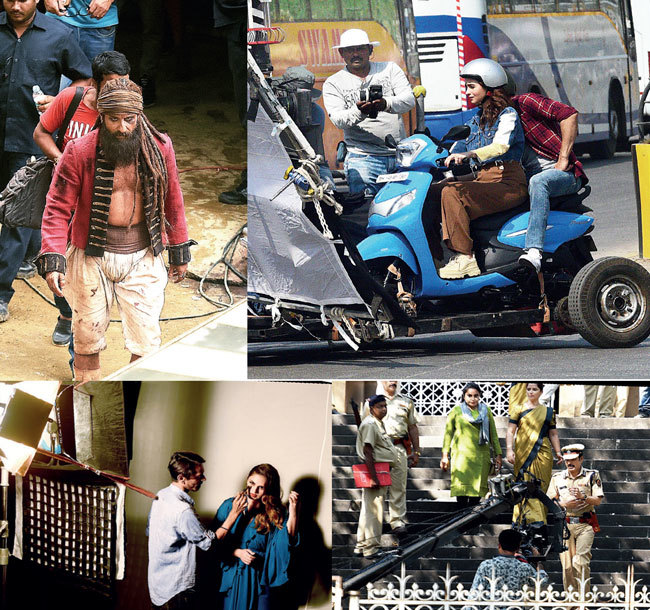 (Clockwise) Saif Ali Khan shooting for his upcoming film Hunter at Goregaon's Filmistan studio; Alia Bhatt filming an ad in Wadala; Manoj Bajpayee at Elphinstone Technical College during the making of Satyamev Jayate; Huma Qureshi seen preparing for a reality TV show; PICS: RAJU SHINDE, SACHIN HARALKAR, NILESH WAIRKAR
