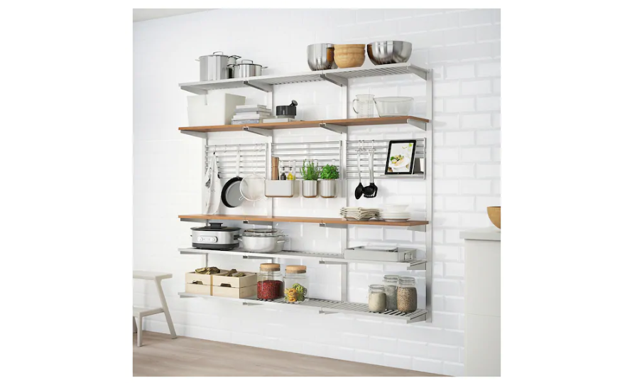Use the vertical wall for storage with wall shelves