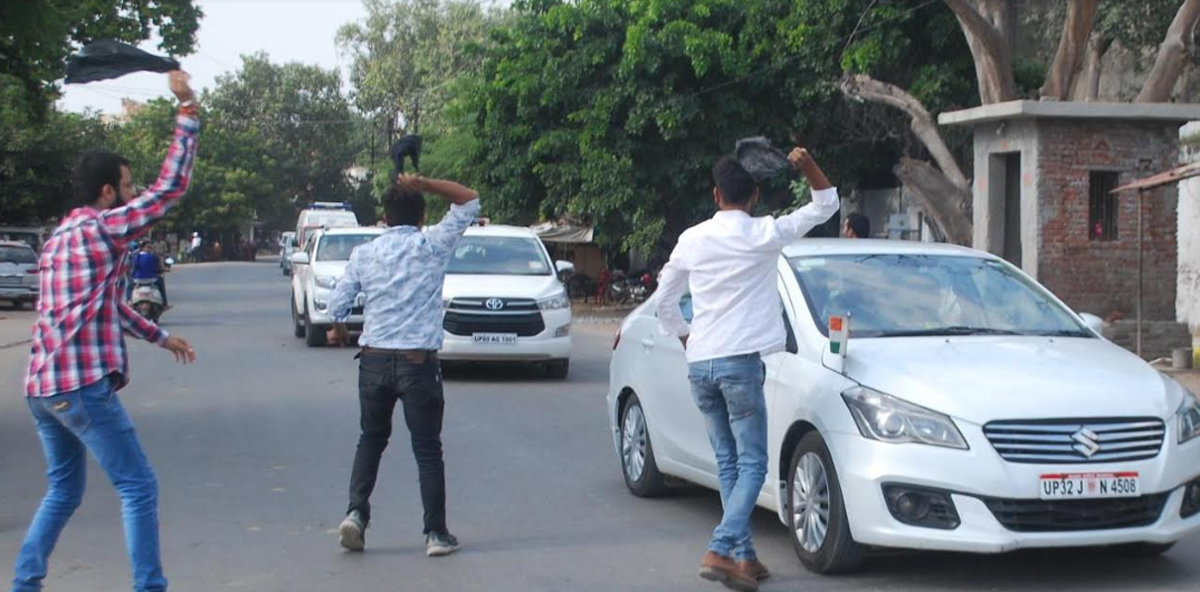 Black flags shown to UP deputy CM,