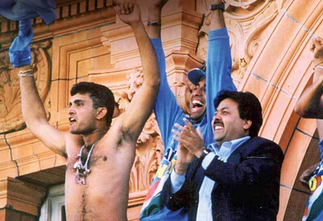 Ganguly waving his shirt in the Lord's balcony after India won the 2002 Natwest Trophy established his image as an aggressive player and leader