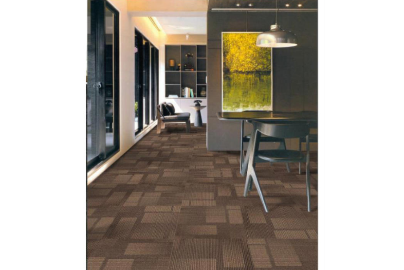 Carpet tiles with wood pattern
