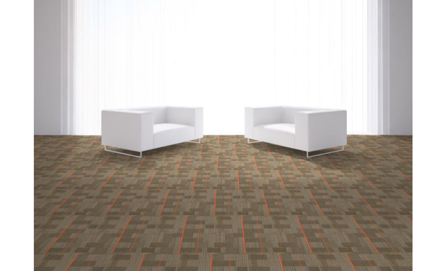 Carpet tiles with busy designs