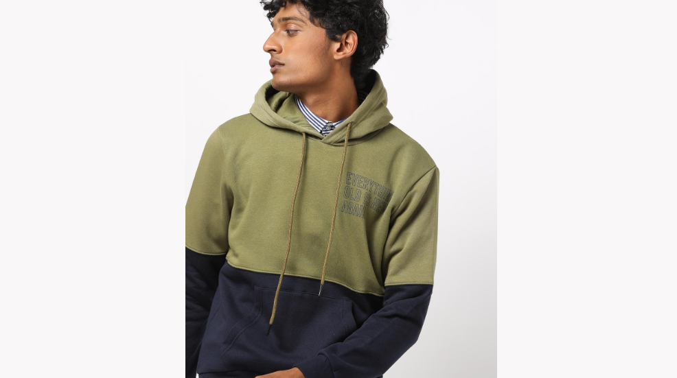 United Colours of Benetton Colour block Slim Fit Hoodie