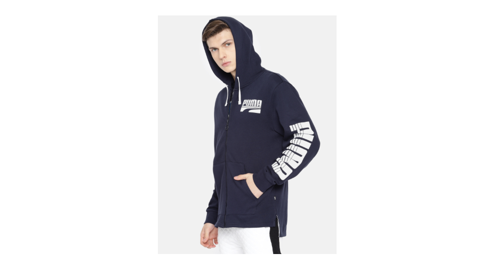 Puma Men Navy Blue Printed Hooded Sweatshirt