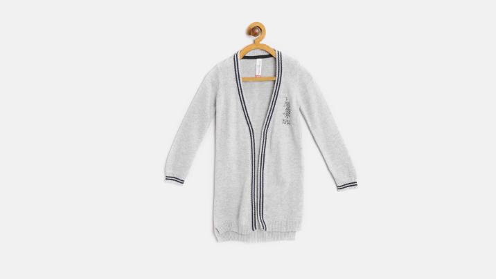 Grey Melange Solid Front-Open Sweater
