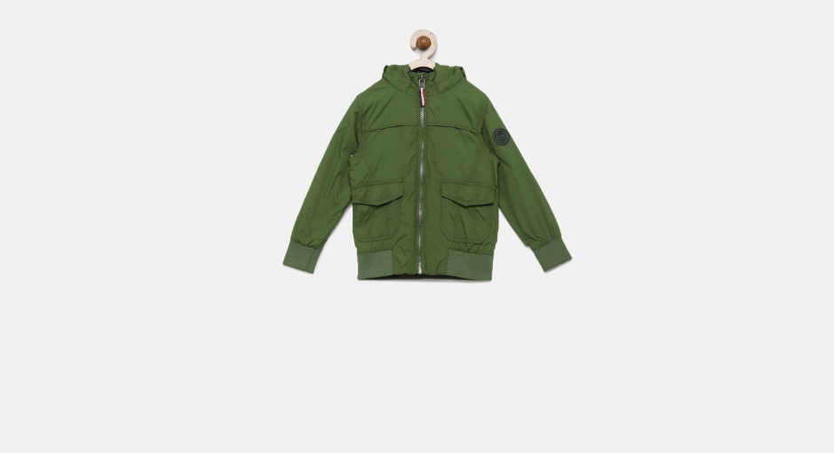U.S. Polo Assn. Boys Olive Green Solid Windcheater Bomber