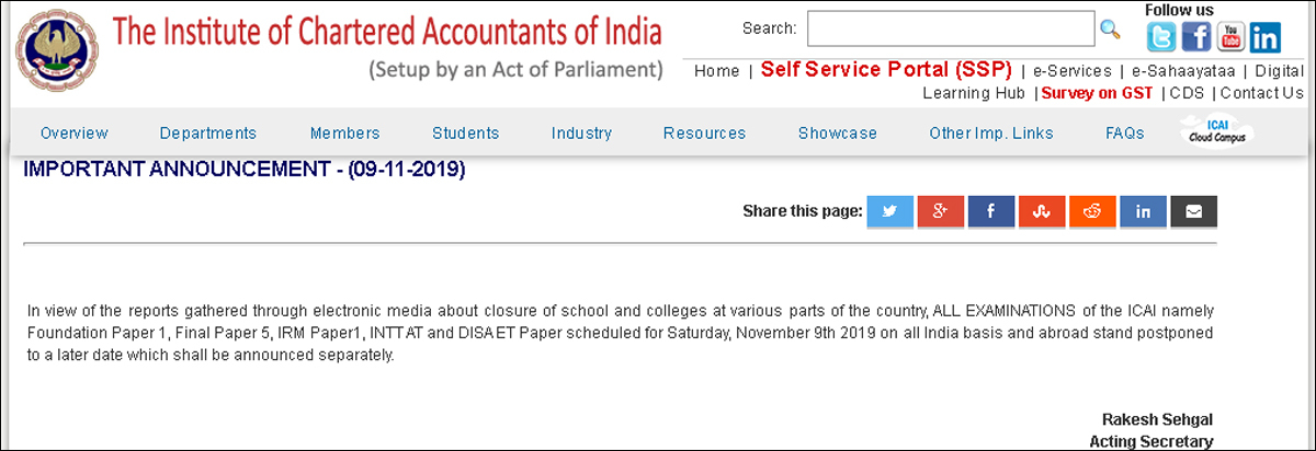 ICAI exam postponed