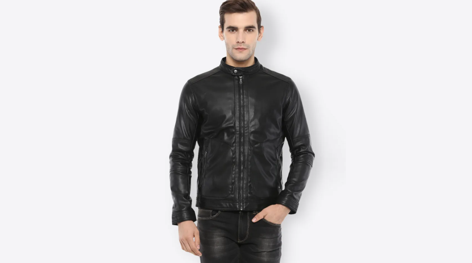 Celio black solid leather jacket
