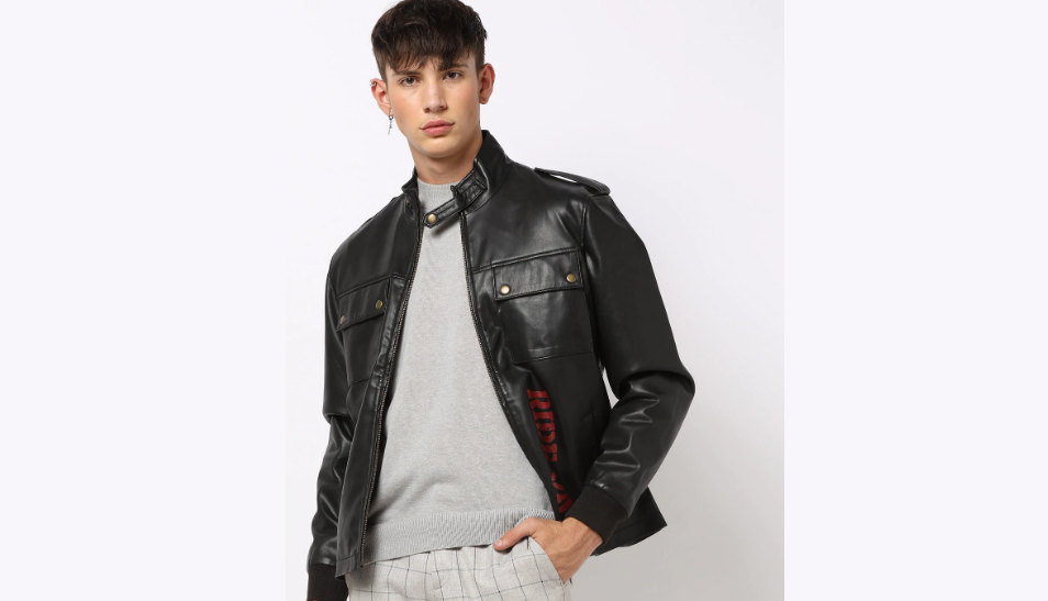 Genuine Leather Panelled Biker Jacket