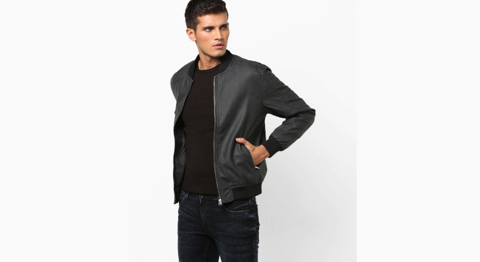 JOHN PLAYERS Zip-Front Biker Jacket with Insert Pockets