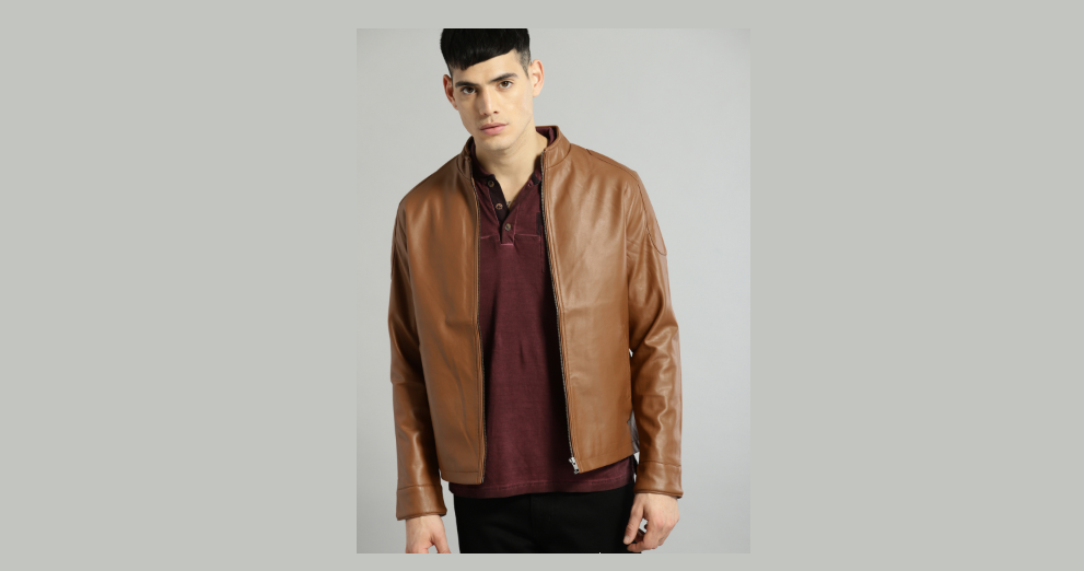 Roadster Men Tan Solid Leather Jacket