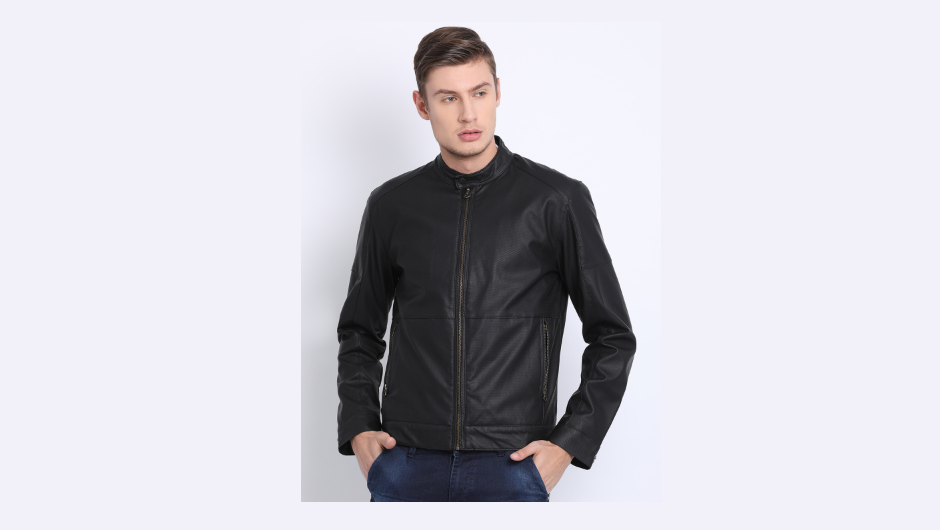 T-base Men Black Solid Windcheater Leather Jacket