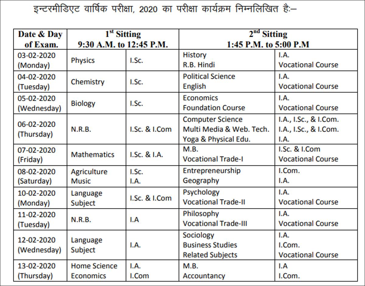 Bihar Board Class 12 exam schedule 2020