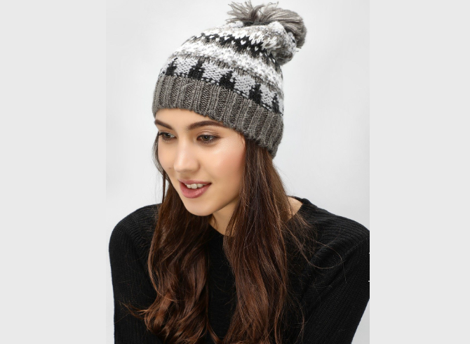 Fairisle Cap With Knitted Bobble