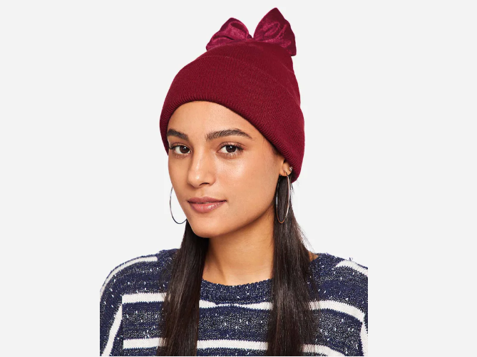 Bow Decorated Beanie Hat