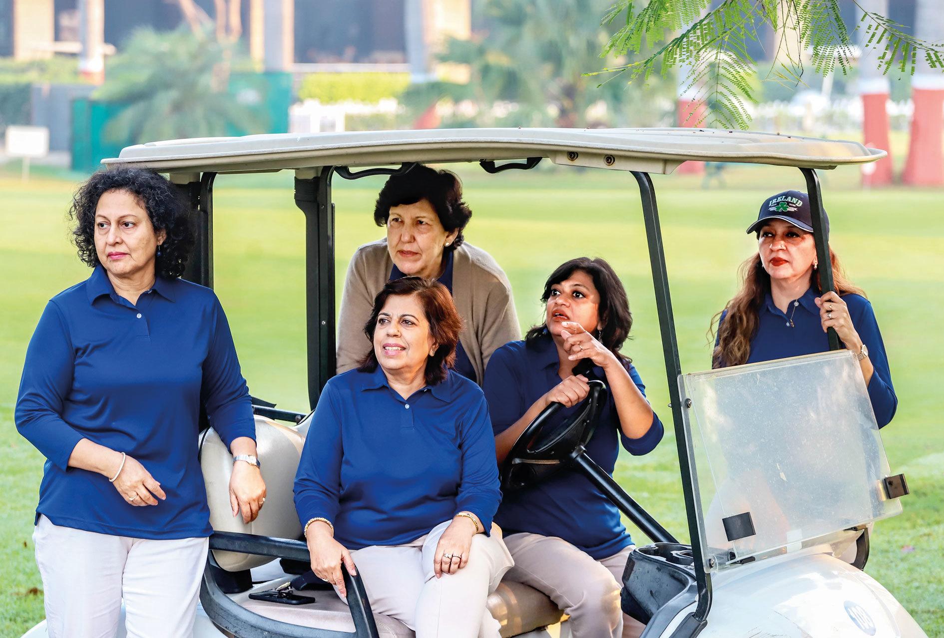 Members of Noida Golf Club (ladies), who organised the event, watch  the game. (L-R) Madhu Sharma, Kiran Chowdhury (Captain), Mariam Ali  (behind Kiran), Seema Singh (at the wheel), Faryal Shadab