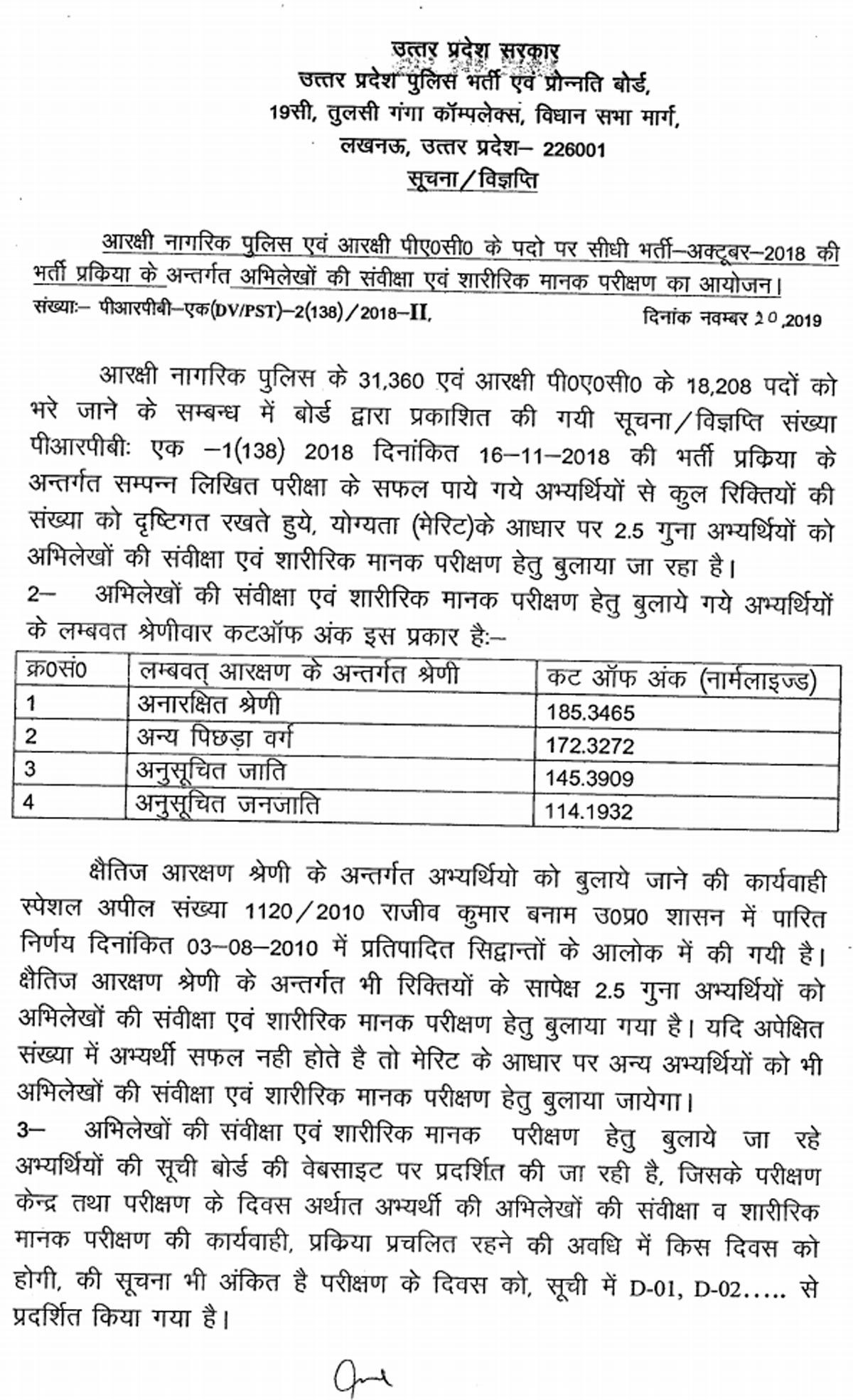 UP Police Constable Cut-off and result 2019 for DVPST