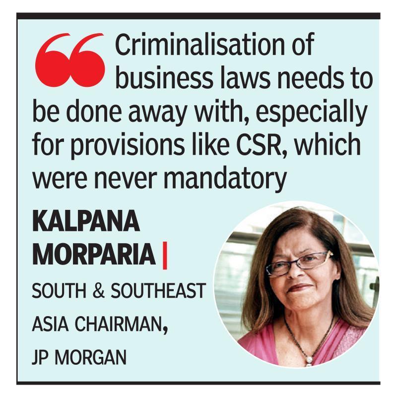 Criminalising biz laws worrying, says Morparia