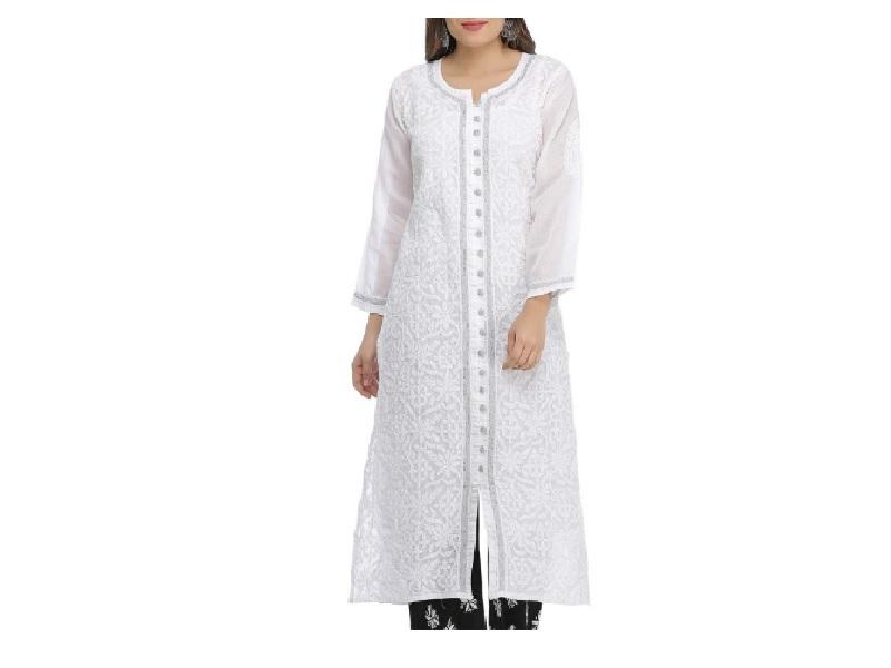 Straight fit white chikan kurti