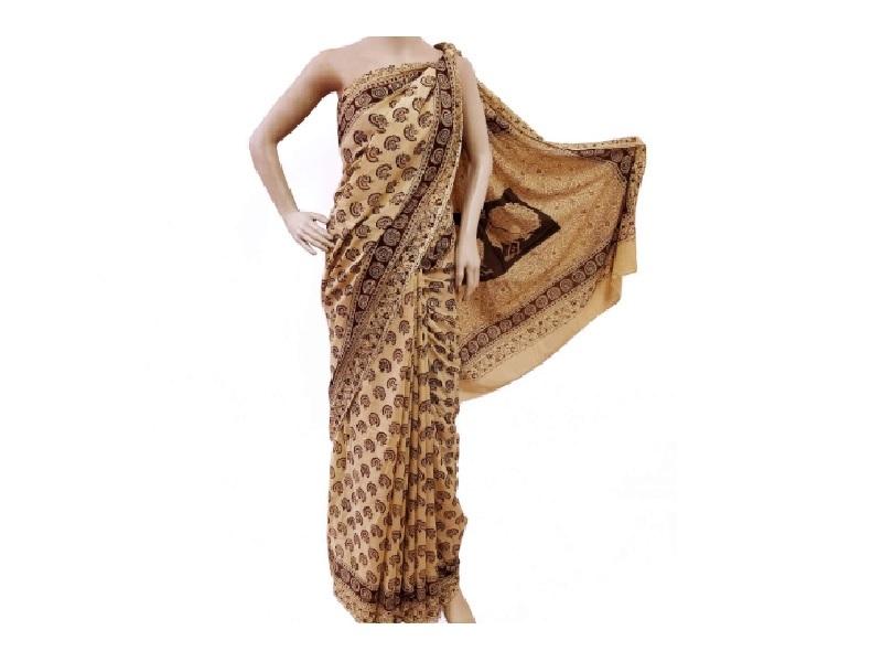 Hand Block Kalamkari Printed Cotton Saree