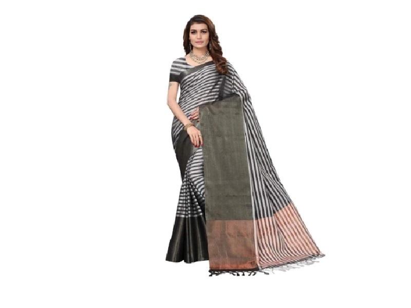 Striped Cotton Saree with Buti at Pallu