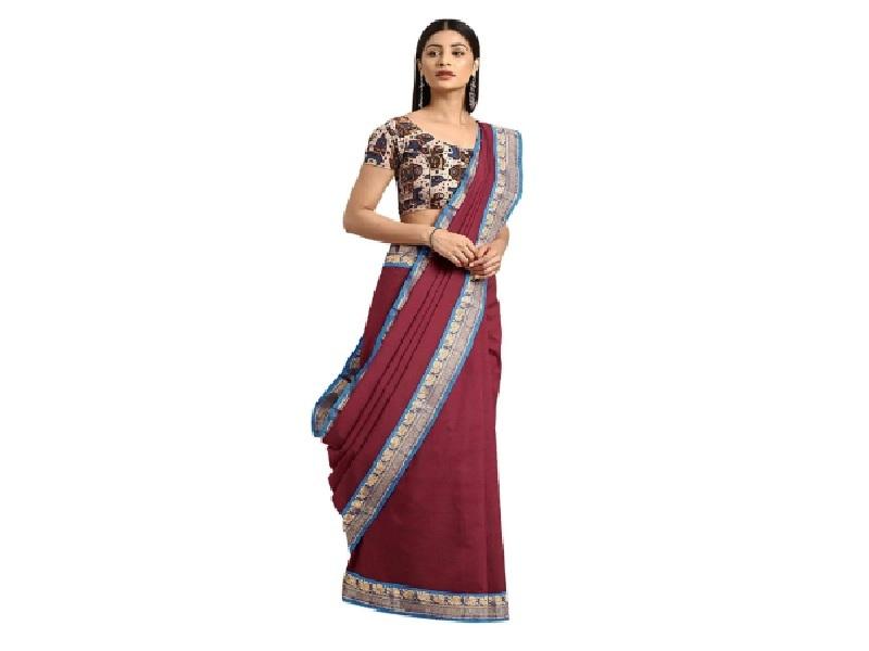 Maroon Venkatgiri Pure Cotton Saree