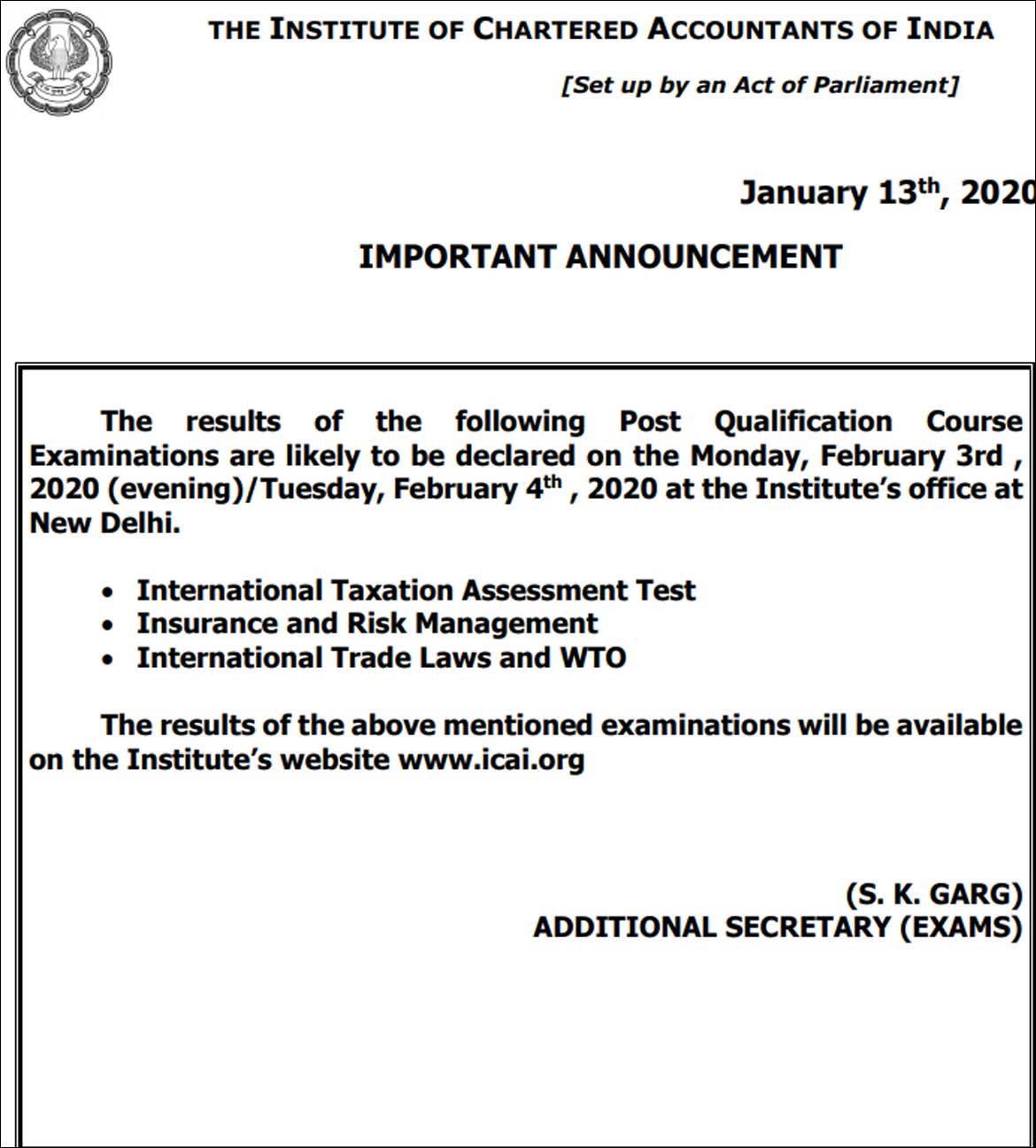 CA November exam result date