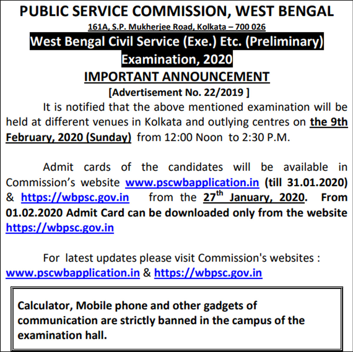 WBPSC Civil Service pre exam on Feb 9