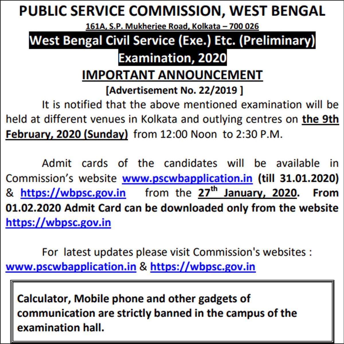WBPSC Civil Service pre exam on Feb 9