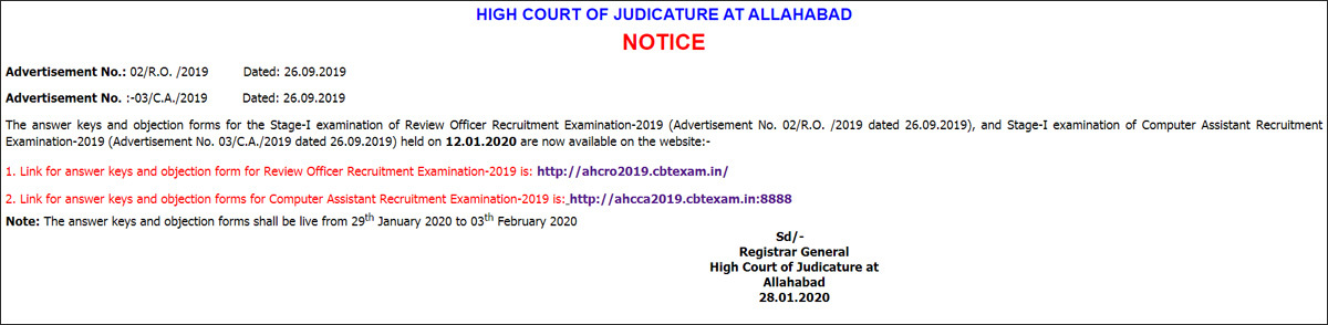Allahabad High Court RO and Computer Assistant answer key 2020